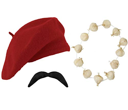 Adult Unisex French Day 3 Pieces Beret Moustache & Garlic Garland Fancy Dress Set Costume (Red)