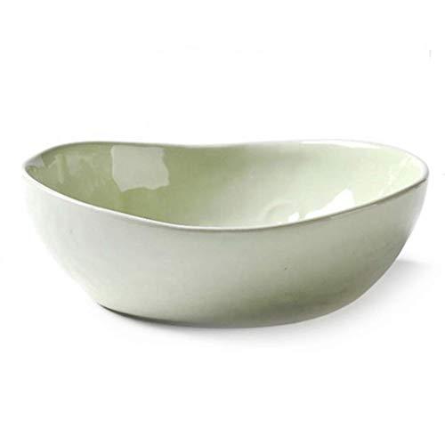 LHQ-HQ Tazón de vajilla de cocina europea, tazón grande, tazón de ensalada de frutas y verduras, cuenco para cena, cuenco japonés, equipo de fiesta familiar (color verde, tamaño: 18,5 x 6 cm)