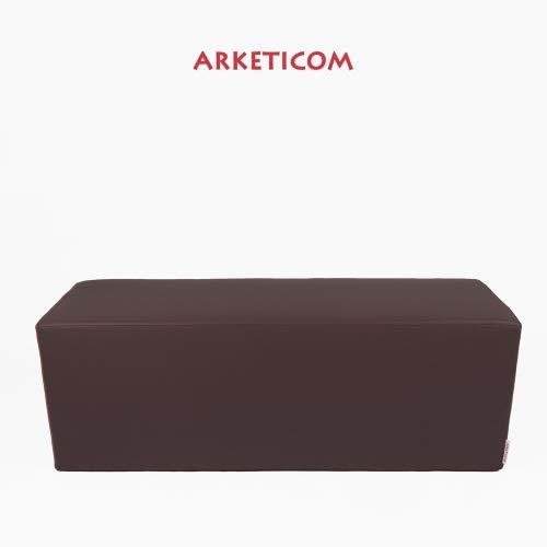 Arketicom Horizon Pouf Long ou Banquette Repose-Pieds en Faux Cuir et Polyurethane Mousse Dur HD Haute densite (PUF Puff pouffe Seance) Mesure 42H x 42L x 84L cm Couleur Brun