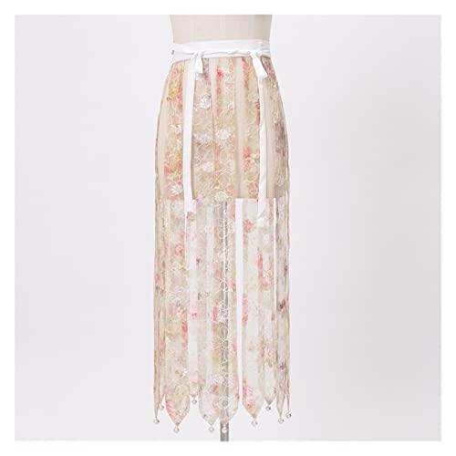 KAITUO Perilla Ming Hanfu Plum Bound Bound Grano Pink Mandarin Cuello Camisas Caballo Side Faldas Bordado Tail-On Falda (Color : Beige, Size : L.)
