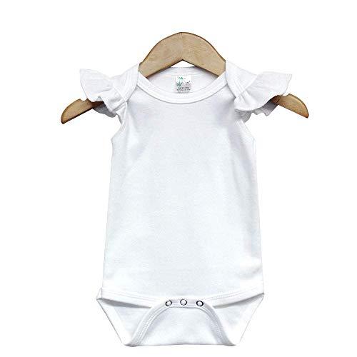 Laughing Giraffe Baby Girl Blank Flutter Short Sleeve Bodysuit Onesie White (12-18 Months)