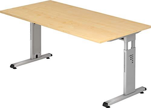 bümö® Stabiler Schreibtisch höhenverstellbar 160 x 80 cm | Bürotisch in Ahorn | Büroschreibtisch mit Höheneinstellung | Tisch für Büro in 9 Größen & 7 Dekoren