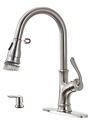 APPASO Kitchen Faucet with Pull Down Magnetic Docking Sprayer Stainless Steel Brushed Nickel - Single Handle High Arc One Hole Pull Out Kitchen sink Faucets and Soap Dispenser