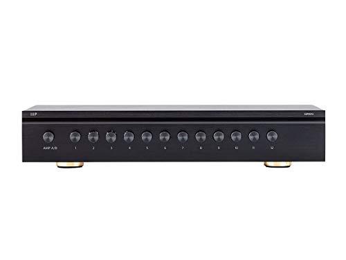 Monoprice SS-Pro 12 High Power Dual Source 300 Watt Peak 12 Pair Impedance Matching Speaker Selector (139067), Black