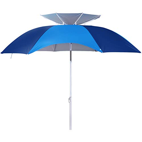 XBSXP Folding Waterproof Camping Fishing Garden Umbrella,Beach Umbrella UV 50+,with Sand Anchor & Tilt metal Pole