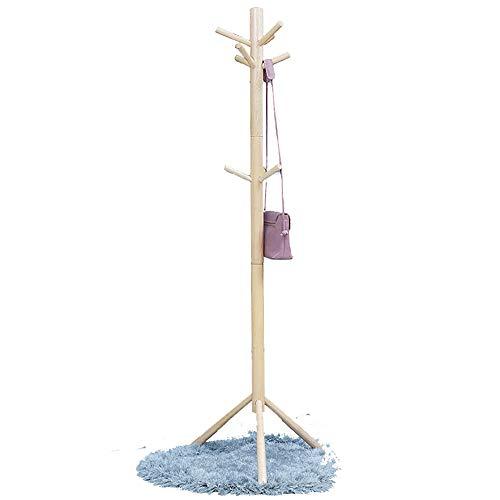 NEHARO Abrigo Soporte de Rack Dormitorio Percha Percha Simple 3 Colores Opcionales Estante de la Capa sólida de Madera Perchero de pie Fácil de Acceder (Color : Wood Color, Size : 55x176cm)