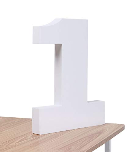 Foam Number 1 Standing 3D Number High Density Number 1 Photo Prop 1 Sign for DIY Birthdat Party Craft School Project (White,1,12inches)