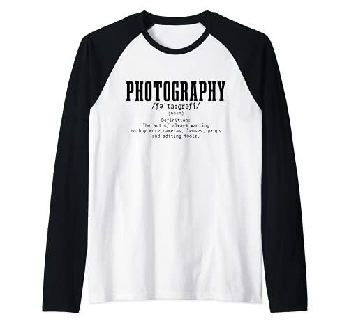 Fotografía Definición Diccionario Cámara Fotógrafo Divertido Camiseta Manga Raglan