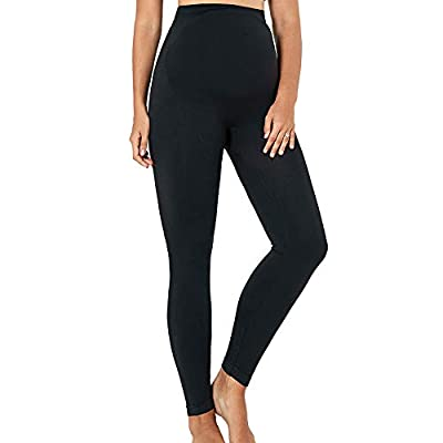 HOFISH Women's Ultra-Soft Thermal Active Wear Over The Bump Maternity Underwear Long Legging Pants Black Medium
