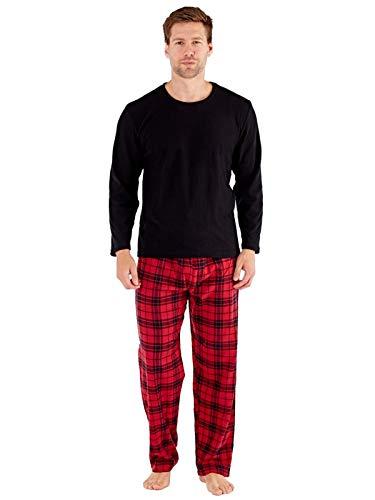 Herren-Geschenkpaket Pyjamas Fleece-Top Check Flanellhose (Medium, Rot/Schwarz)