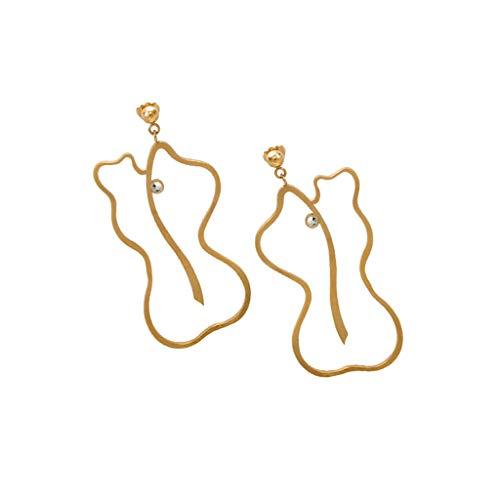 hkwshop Pendientes Mujer Moda línea geométrica Pendientes-señoras Pendientes de la Gota Exquisita de cumpleaños y Regalos de San Valentín Personalizada Pendientes Simples Stud Pendientes