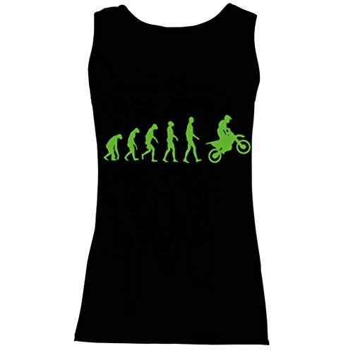 lepni.me Camisetas sin Mangas para Mujer Evolución del Motocross Equipo de Moto Ropa de Carreras Todoterreno (XX-Large Negro Verde)