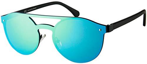 La Optica B.L.M. Herren Sonnenbrille UV400 CAT 3 Damen Pilotenbrille Fliegerbrille Round Randlos Kreis - Metall Schwarz (Gläser: Grün verspiegelt)