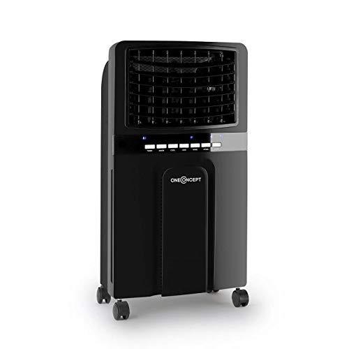 OneConcept Baltic Black IceLine - Rafraîchisseur d'air, Nettoyeur, Ventilateur, Humidificateur, 3 Niveaux, 400m³/h, Performance économe, 2 recharges réfrigérantes, Noir