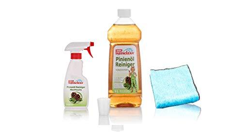 Pastaclean Pinienöl Reiniger 1 Liter Gel Konzentrat + Mischflasche + 1 MicroMagic Mikrofaser Flauschtuch - Idealer Haushaltsreiniger für alle Oberflächen im Innen- Außenbereich