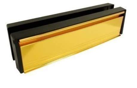 Briefkasten/Briefschlitz für uPVC-Türen - Frontpaneel in Goldfarben anodisiert - 20-40 mm Türtiefe - 30,48 cm breit