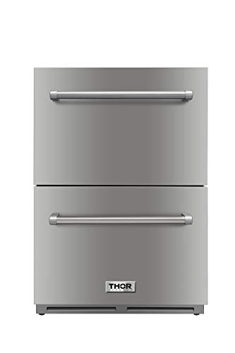 "Thor Kitchen 24"" Indoor and Outdoor Double Drawer Under-Counter Refrigerator in Stainless Steel 5.3cu.ft TRF2401U"