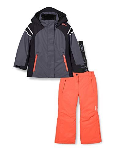 CMP Set de deporte en la nieve (chaqueta + pantalones), esquí para niña, Niñas, 30W0025, Graffite, 128
