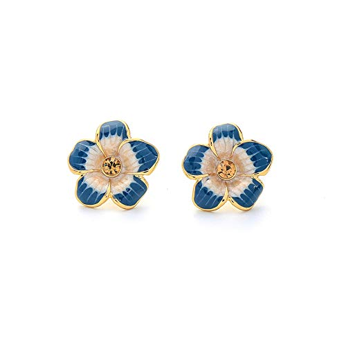 hongruida 2021 Nuevo Color Oro Azul Esmalte Flores Pequeños Pendientes para Joyería de Navidad (Metal Color: Dorado)