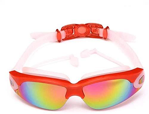 Zwembril volwassen zwemmen veiligheidsbril anti mist Waterproof zwembril zwembril met Conjoined Oordoppen leilims (Color : Red)