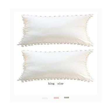 Meaning4 Pom Poms Fringe Cotton Pillow Cases White King Size 20 x 36 Set of 2