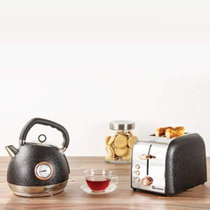 SQ Professional Epoque Breakfast Set 2pc Kettle with Rose Gold Features & Temperature Display 2200W - 2 Slice Toaster with Rose Gold Features, High-Lift, Wide Slots & 6 Browning Levels 900W