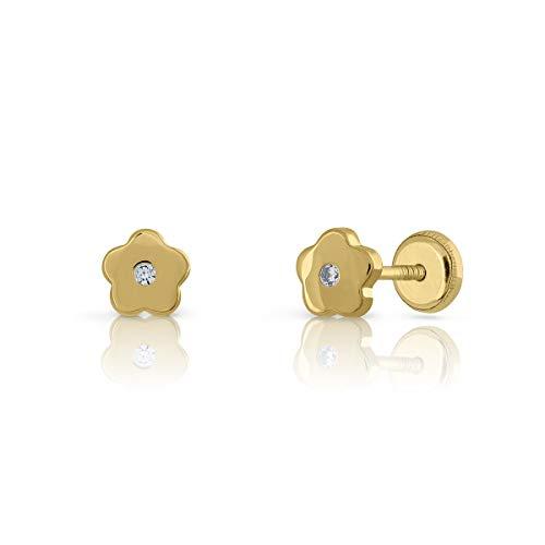 Pendientes Oro de Ley Certificado, flor con circón engastada de 1.5mm. Medida joya 5.5 mm, con cierre de rosca.