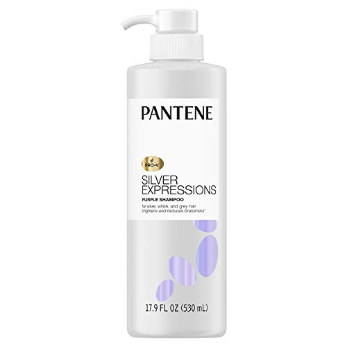 Pantene Silver Expressions, Purple Shampoo and Hair Toner, Pro-V for Grey and Color Treated Hair, Lotus Flowers, 17.9 Fl Oz