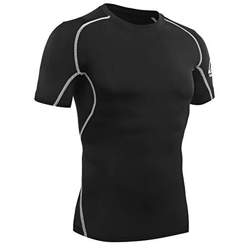 AMZSPORT Maglietta a Compressione da Uomo Maglia Manica Corta Palestra T-Shirt Corsa Nero L