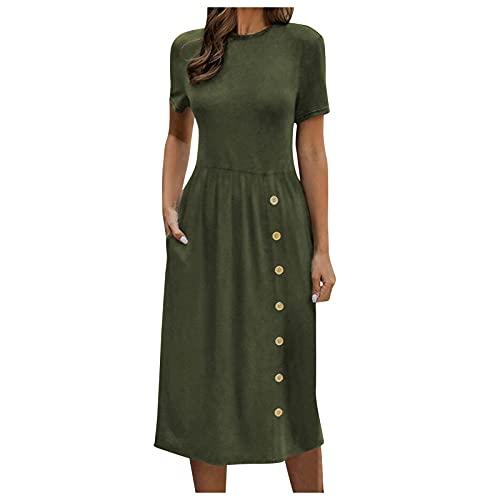 WWricotta Damen Minikleid Sommerkleid Einfarbig Rundhals Hüftrock Kurzarm Kleider Taste Sexy Elegante Kleid Taschen Kleid Etuikleid Trägerkleid