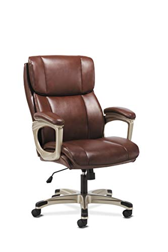 Sadie Executive Computer Chair- Fixed Arms for Office Desk, Brown...