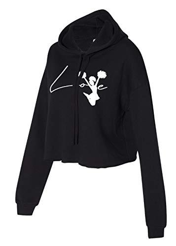 Cheerleading Apparel - Cheerleader Cropped Hoodie - Love Cheer Cropped sweater (Black, Small)