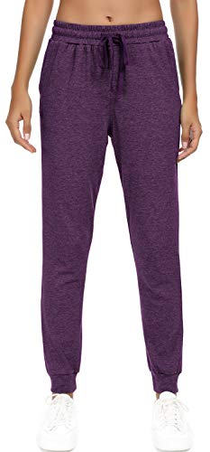HAOMEILI Women's Active Yoga Sweatpants Workout Joggers Pants Cotton Lounge Sweat Pants with Pockets Purple