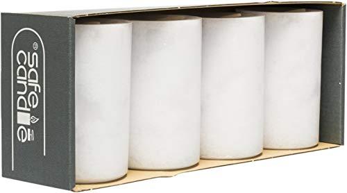 safe candle Trendkerze selbstverlöschend, 4 Stück, Höhe 9cm / Ø 6cm, 27 Std. Brenndauer (Weiß)