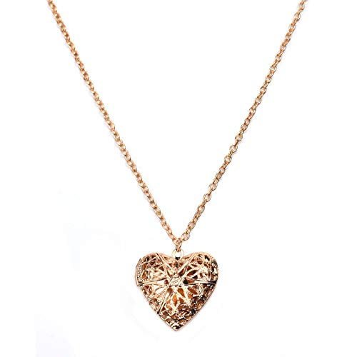 Collar de mujer en forma de corazón, puede jugar con fotos pequeñas, chapado en oro, con forma de corazón