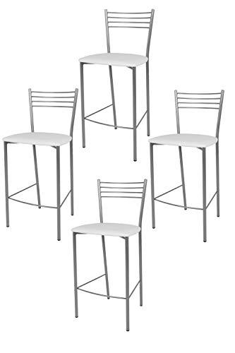 Tommychairs - Set 4 sgabelli alti modello Elena per cucina e bar, struttura in acciaio verniciata colore alluminio e seduta imbottita e rivestita in pelle artificiale colore bianco