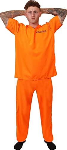I LOVE FANCY DRESS LTD Disfraz DE Prisionero HUIDO Naranja Unisex para Adulto - Disfraz DE CONVICTO, Prisionero, Recluso, TOMBOS Y Ladrones - Top Y PANTALÓN Naranja (X-Grande)