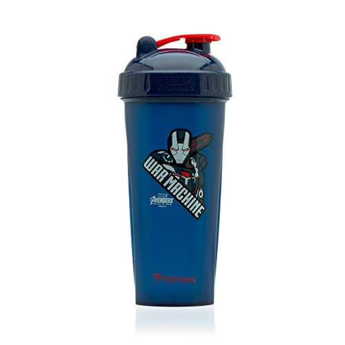 PERFORMA Perfect Shaker - Avengers End Game Series, Leak Free Protein Shaker Bottle With Actionrod Mixing Technology For All Your Protein Needs! Shatter Resistant & Dishwasher Safe (War Machine)(28oz)