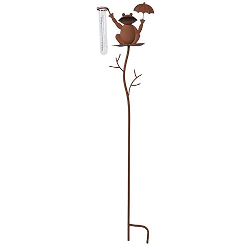 La Grande Prairie Regenmesser Frosch Rost 19 x 12 x 100 cm