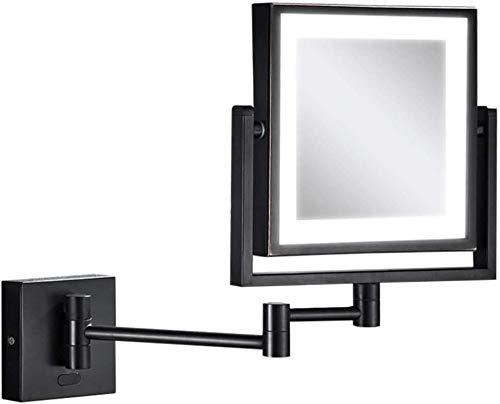 Beiden Seiten des Spiegels, eine dimmbare Wand montierten Spiegel 3-fach Zoom 360-Grad-Drehspiegel Badspiegel,Black