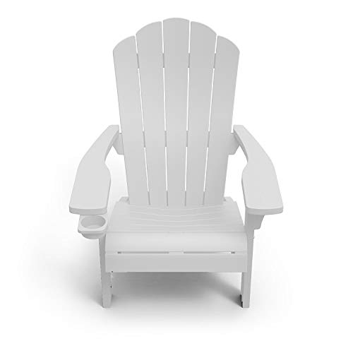 Outdoor Patio Garden Deck Furniture Resin Adirondack Chair with Built-in Cup Holder (White)