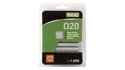 salki 0111220 Blister 1000u Grapas Galvanizadas Omega 20 (Ω20) para Grapado y Anillado de Cercas, Metal, L