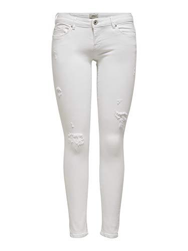 ONLY Damen ONLCORAL SL Skinny ANK Dest BB AZ4175 Jeans, White, 27/32