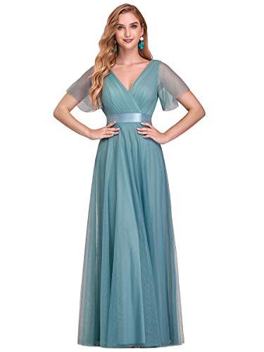 Ever-Pretty Vestito da Festa Donna Linea ad a Tulle Abito da Sera Scollo V Lungo Cerimonia Cielo Blu Scuro 36