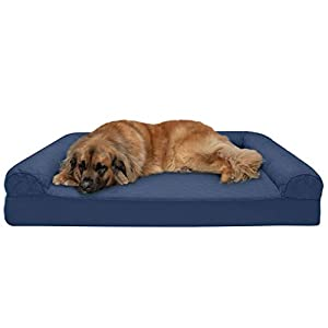 Furhaven Pet Dog Bed – Memory Foam Quilted Traditional Sofa-Style Living Room Couch Pet Bed with Removable Cover for Dogs and Cats, Navy, Jumbo Plus