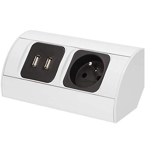 ORNO AE-1310 Ecksteckdose 1 Fach mit 2x USB-Ladegerät, 3680W, Typ E Französisch Steckdose, für Küche, Büro und Arbeitsplatte
