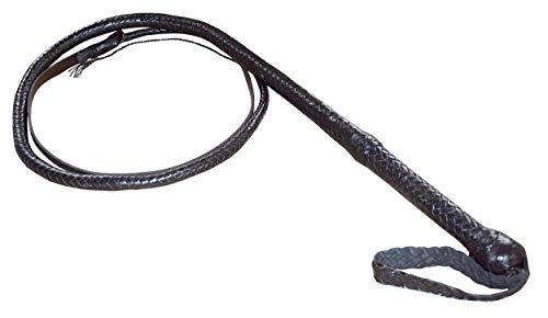 Premium Peitsche Bullenpeitsche Bullwhip Rindleder Lederpeitsche geflochten BRAUN inkl. Holster/Länge: 210 cm/BDSM Spanking Schlagwerkzeug