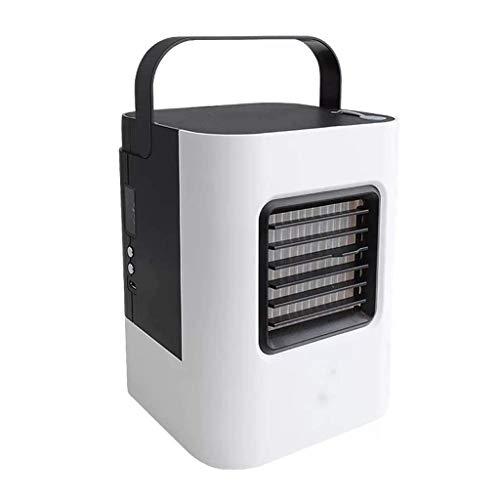 Enfriadores evaporativos Refrigerador de aire Mini USB Aire acondicionado personal Pequeño humidificador de enfriamiento Ventilador con mango portátil, 3 velocidades y luz LED para oficina, hogar