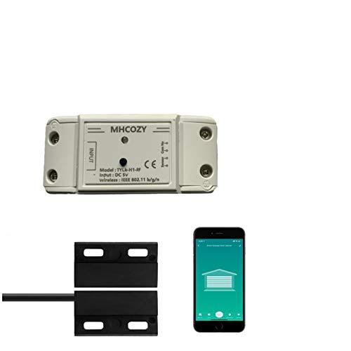 MHCOZY - Abrepuertas de garaje con mando a distancia, aplicación de teléfono para abrir y cerrar monitorear su puerta de garaje en cualquier lugar, trabajar con Alexa Assistant (Smart Life app 5V)