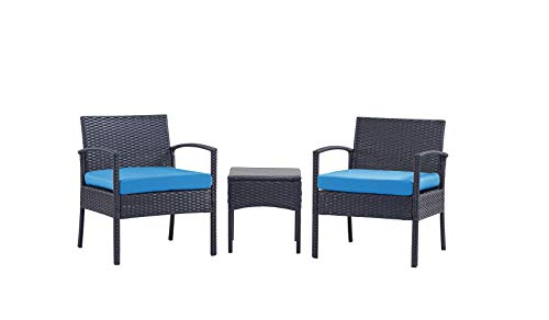 PCAFRS 3 Piece Patio Furniture Set PE Rattan Wicker 3 Pcs Outdoor Wicker Rattan Conversation Set with Coffee Table Chairs amp Thick Cushions Conversation Chair Set for Garden Porch Poolside Blue